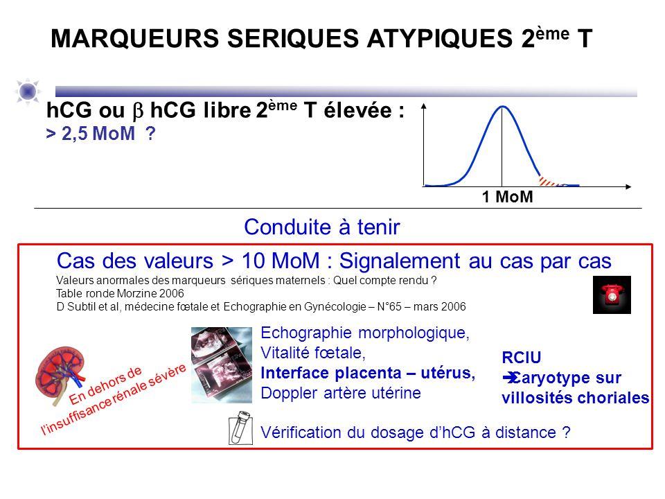Cas des valeurs > 10 MoM : Signalement au cas par cas Valeurs anormales des marqueurs sériques maternels : Quel compte rendu ? Table ronde Morzine 200