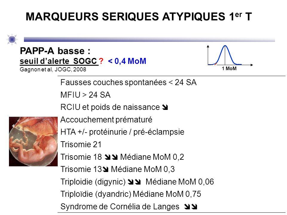 1 MoM PAPP-A basse : seuil dalerte SOGC ? < 0,4 MoM Gagnon et al, JOGC, 2008 MARQUEURS SERIQUES ATYPIQUES 1 er T Fausses couches spontanées < 24 SA MF
