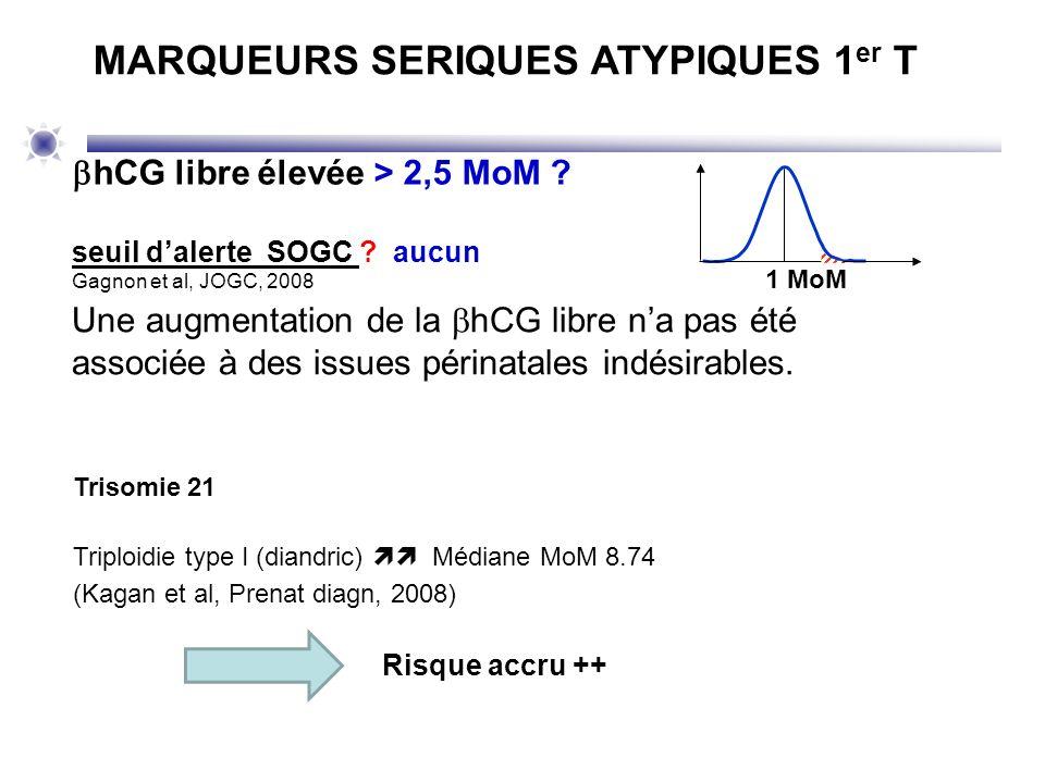 hCG libre élevée > 2,5 MoM ? seuil dalerte SOGC ? aucun Gagnon et al, JOGC, 2008 MARQUEURS SERIQUES ATYPIQUES 1 er T 1 MoM Une augmentation de la hCG