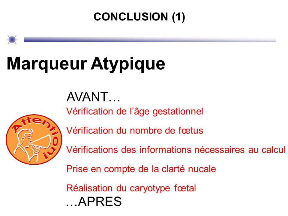 CONCLUSION (1) Marqueur Atypique AVANT… Vérification de lâge gestationnel Vérification du nombre de fœtus Vérifications des informations nécessaires a