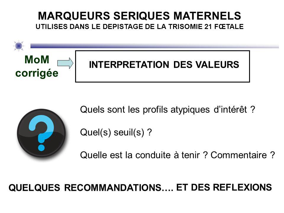MoM corrigée INTERPRETATION DES VALEURS Quels sont les profils atypiques dintérêt ? Quel(s) seuil(s) ? Quelle est la conduite à tenir ? Commentaire ?