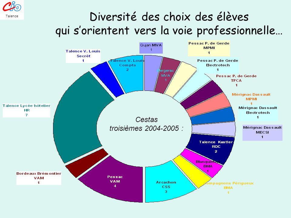 Diversité des choix des élèves qui sorientent vers la voie professionnelle… Cestas troisièmes 2004-2005 : Talence