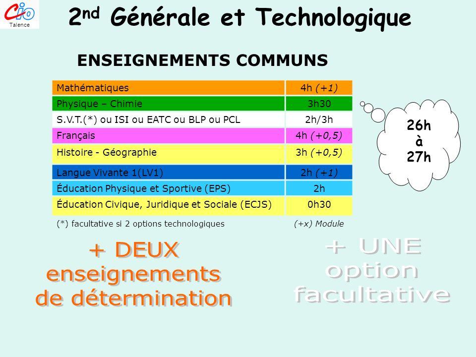 2 nd GT 2 nd Générale et Technologique ENSEIGNEMENTS COMMUNS Mathématiques4h (+1) Physique – Chimie3h30 S.V.T.(*) ou ISI ou EATC ou BLP ou PCL2h/3h Fr