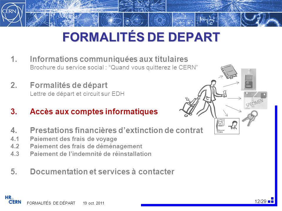 13/29 FORMALITÉS DE DÉPART 19 oct.