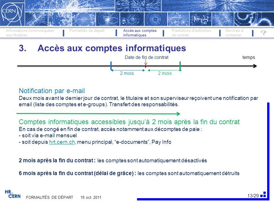 14/29 Comptes informatiques accessibles FORMALITÉS DE DÉPART 19 oct.