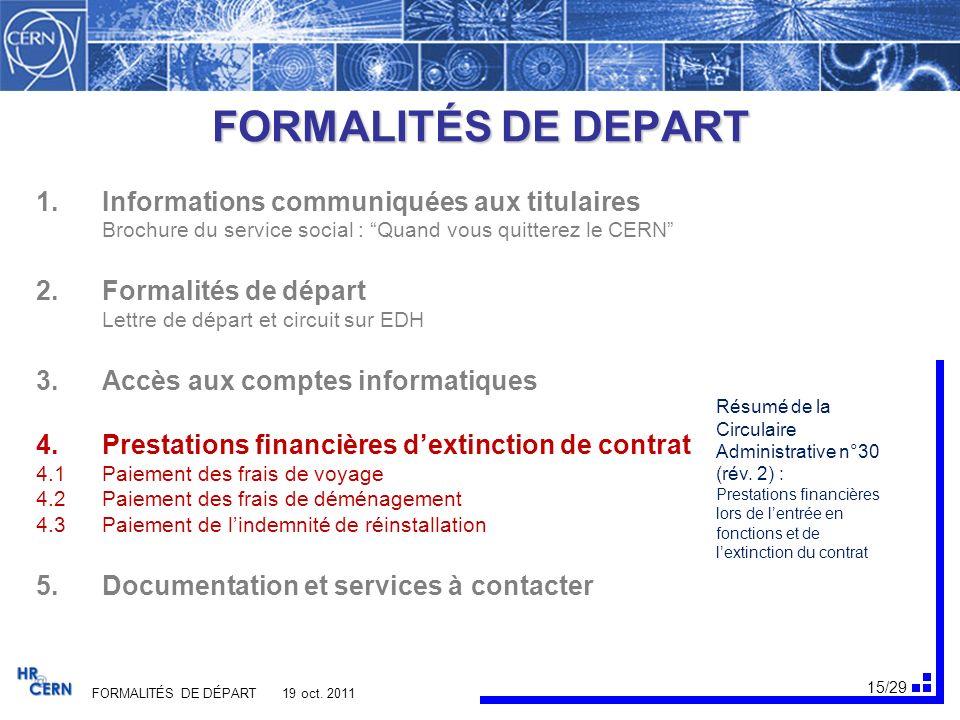 16/29 FORMALITÉS DE DÉPART 19 oct.