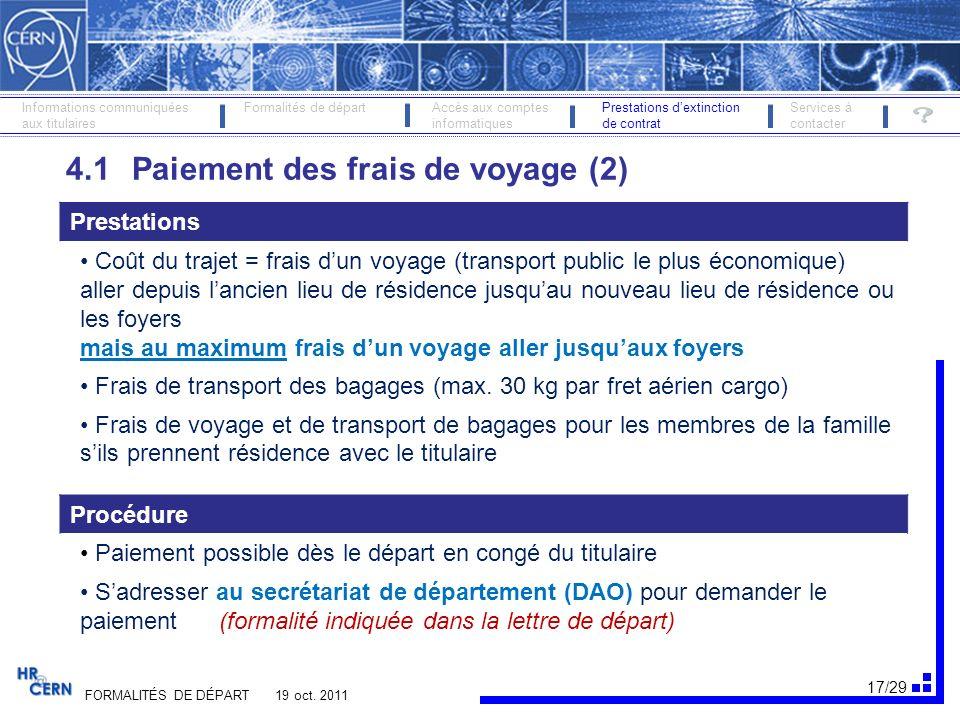18/29 FORMALITÉS DE DÉPART 19 oct.