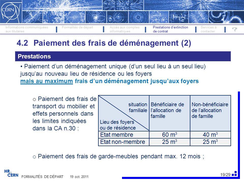 20/29 FORMALITÉS DE DÉPART 19 oct.