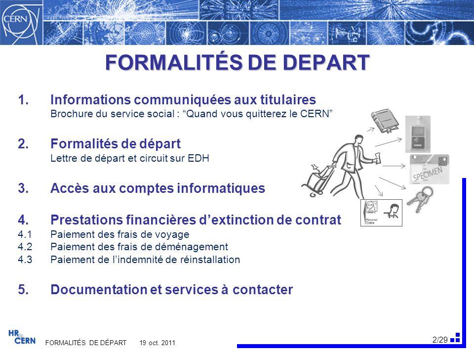 3/29 FORMALITÉS DE DÉPART 19 oct.