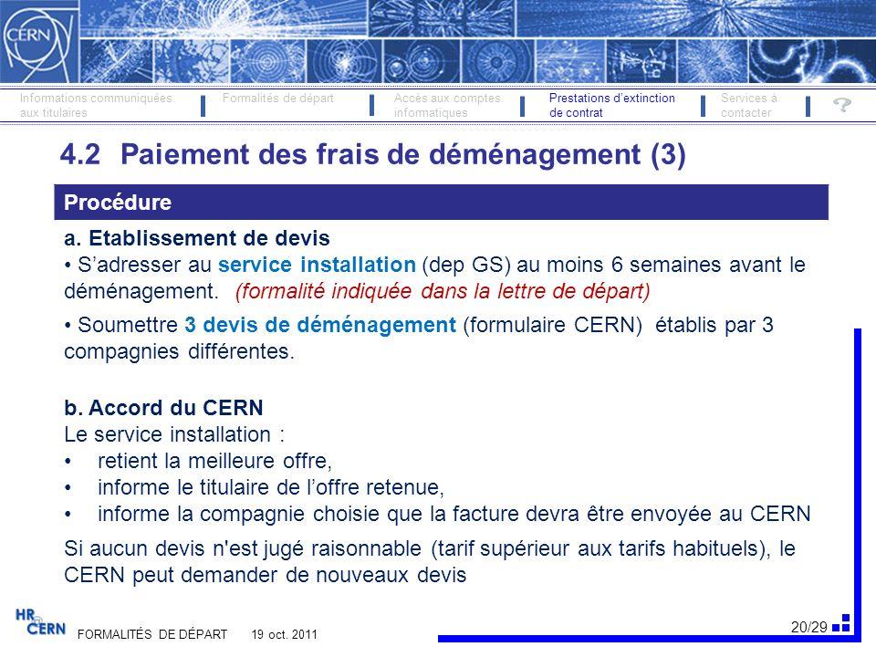 21/29 FORMALITÉS DE DÉPART 19 oct.