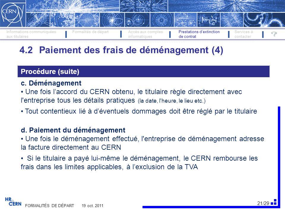 22/29 FORMALITÉS DE DÉPART 19 oct.