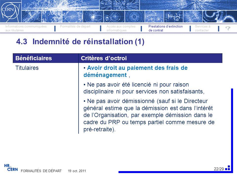 23/29 FORMALITÉS DE DÉPART 19 oct.
