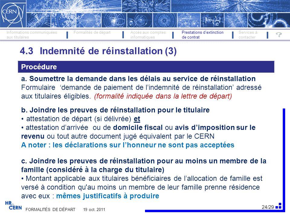 25/29 FORMALITÉS DE DÉPART 19 oct.