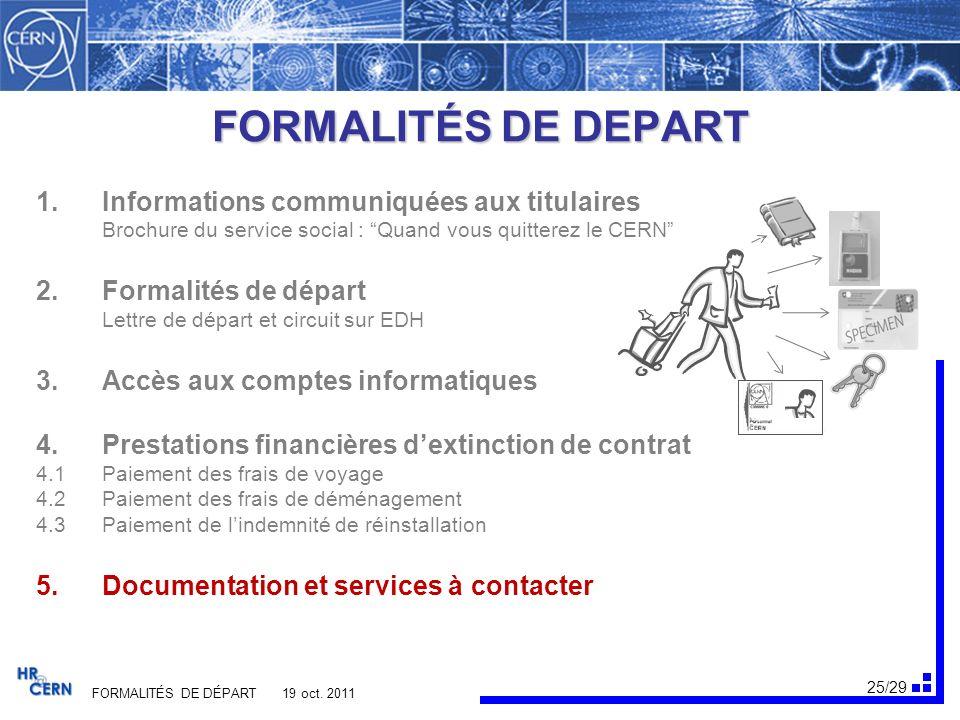 26/29 FORMALITÉS DE DÉPART 19 oct. 2011