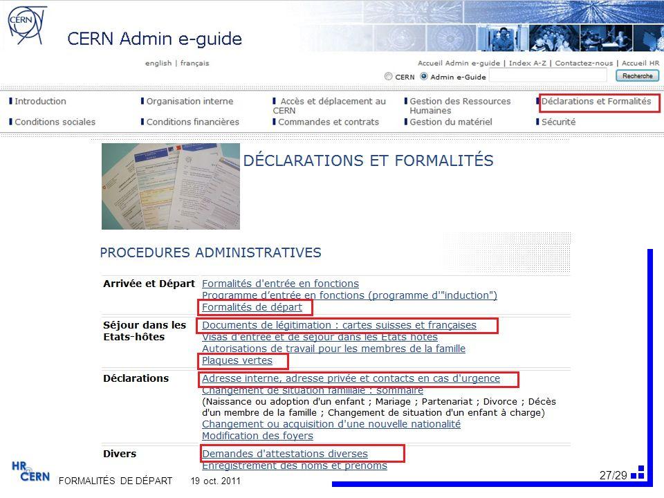28/29 FORMALITÉS DE DÉPART 19 oct. 2011
