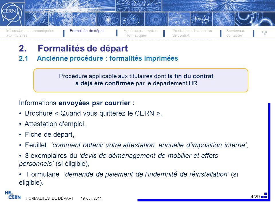 5/29 FORMALITÉS DE DÉPART 13 nov.