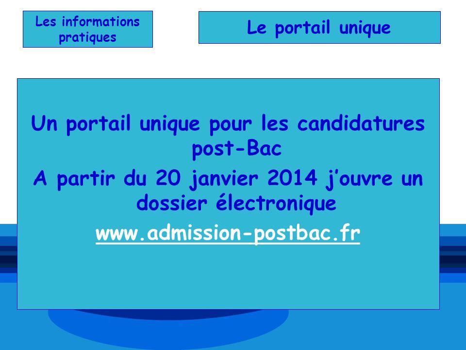Les informations pratiques Un portail unique pour les candidatures post-Bac A partir du 20 janvier 2014 jouvre un dossier électronique www.admission-p