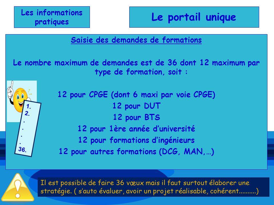 Les informations pratiques Saisie des demandes de formations Le nombre maximum de demandes est de 36 dont 12 maximum par type de formation, soit : 12