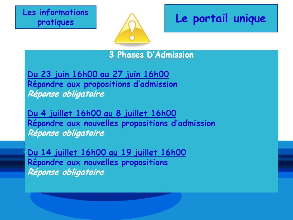 Les informations pratiques 3 Phases DAdmission Du 23 juin 16h00 au 27 juin 16h00 Répondre aux propositions dadmission Réponse obligatoire Du 4 juillet