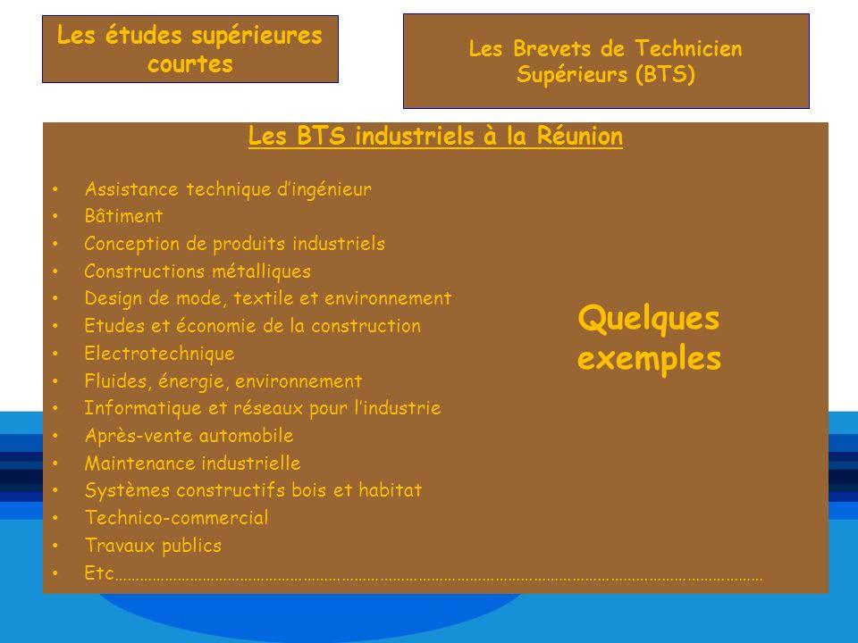 Les BTS industriels à la Réunion Assistance technique dingénieur Bâtiment Conception de produits industriels Constructions métalliques Design de mode,
