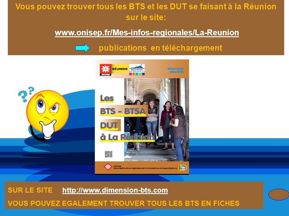 Vous pouvez trouver tous les BTS et les DUT se faisant à la Réunion sur le site: www.onisep.fr/Mes-infos-regionales/La-Reunion publications en télécha