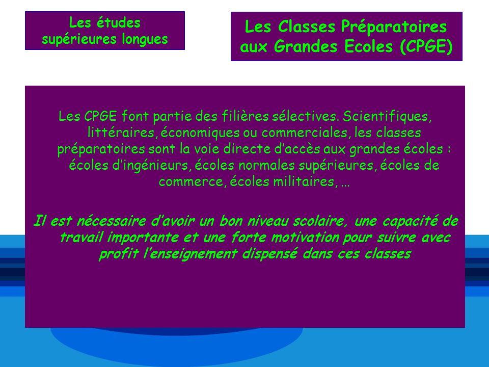 Les études supérieures longues Les CPGE font partie des filières sélectives. Scientifiques, littéraires, économiques ou commerciales, les classes prép