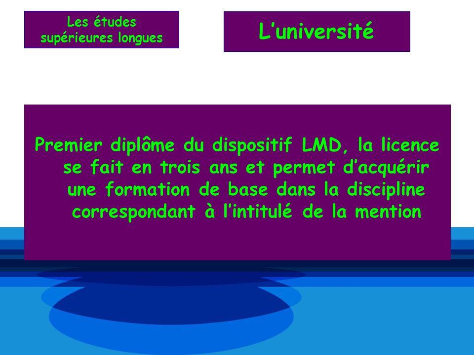 Premier diplôme du dispositif LMD, la licence se fait en trois ans et permet dacquérir une formation de base dans la discipline correspondant à lintit