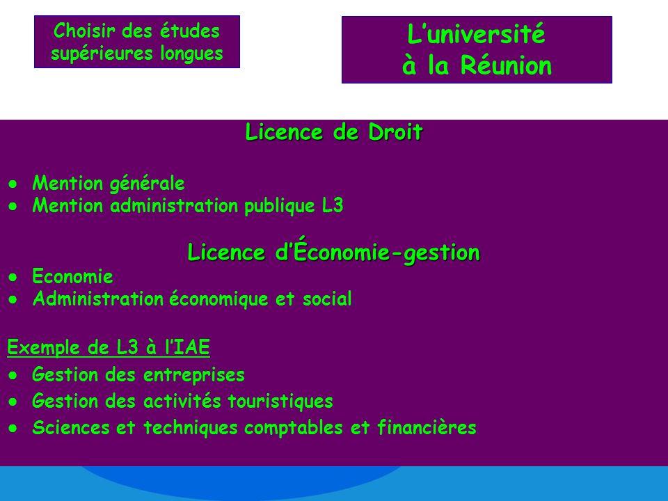 Choisir des études supérieures longues Licence de Droit Mention générale Mention administration publique L3 Licence dÉconomie-gestion Economie Adminis