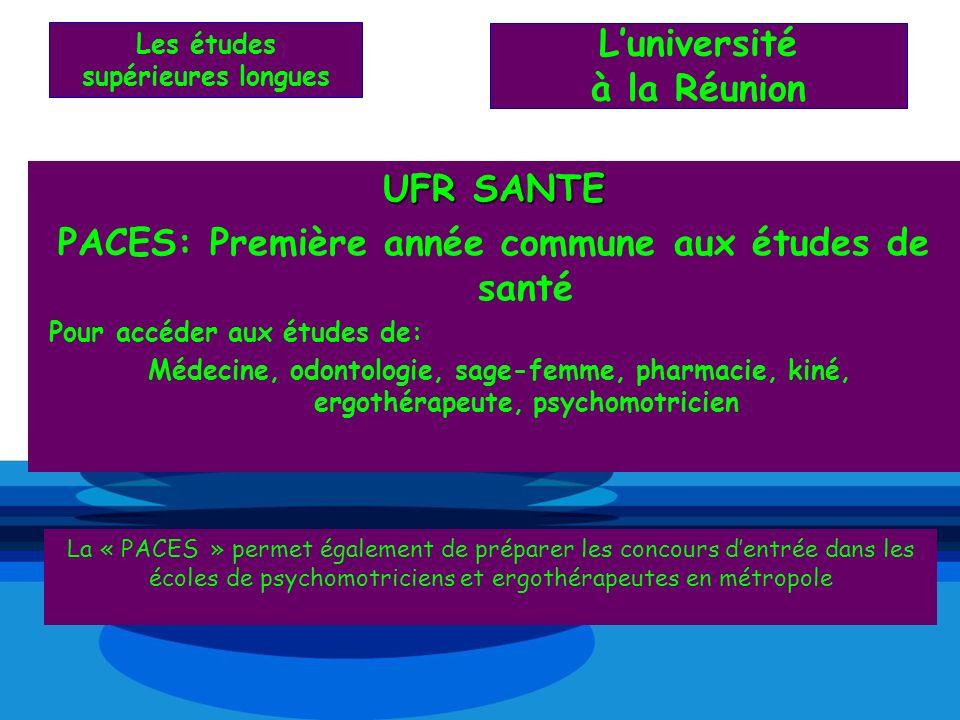 UFR SANTE PACES: Première année commune aux études de santé Pour accéder aux études de: Médecine, odontologie, sage-femme, pharmacie, kiné, ergothérap