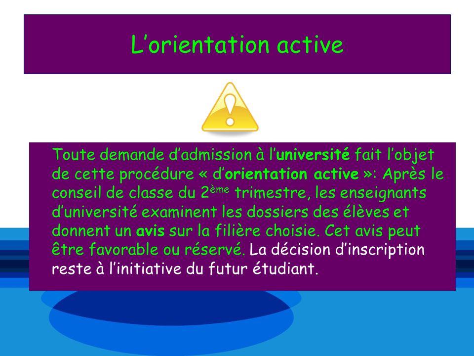 Lorientation active Toute demande dadmission à luniversité fait lobjet de cette procédure « dorientation active »: Après le conseil de classe du 2 ème