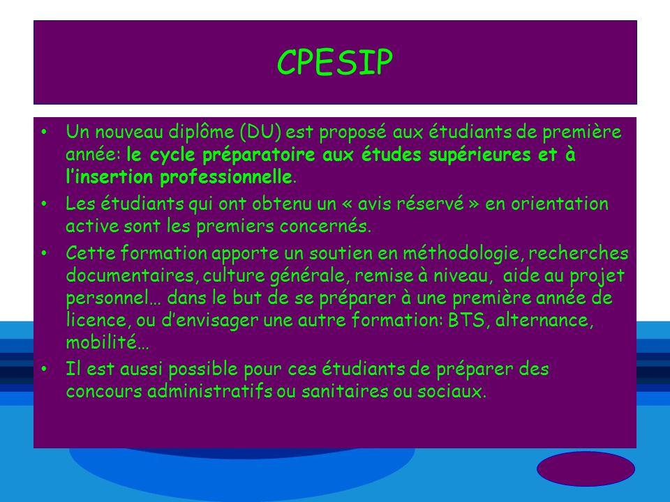 CPESIP Un nouveau diplôme (DU) est proposé aux étudiants de première année: le cycle préparatoire aux études supérieures et à linsertion professionnel
