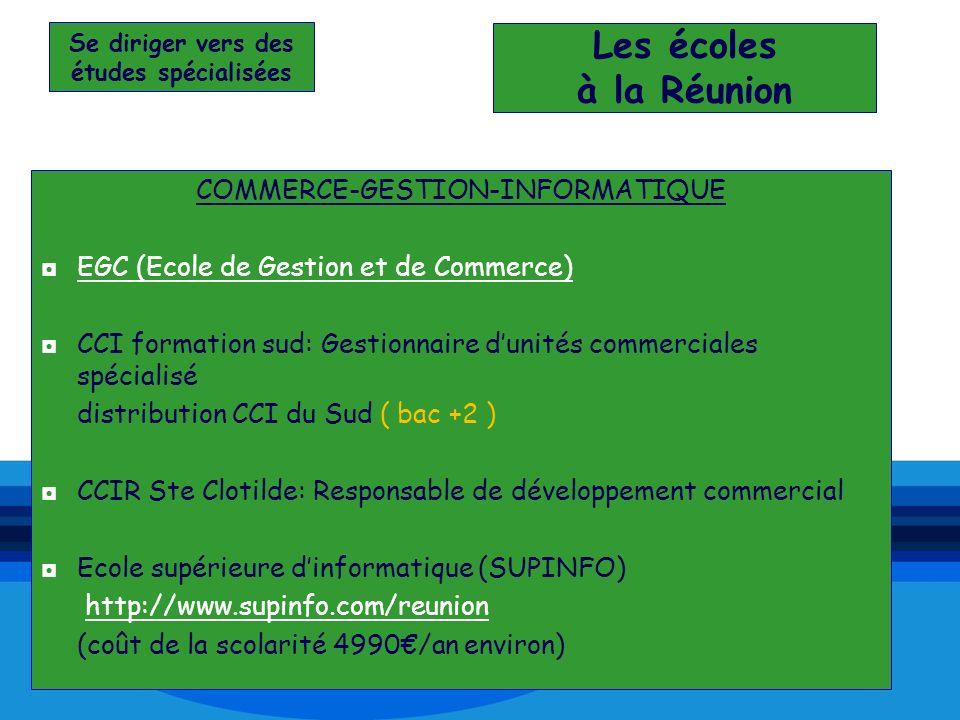Se diriger vers des études spécialisées Les écoles à la Réunion COMMERCE-GESTION-INFORMATIQUE EGC (Ecole de Gestion et de Commerce) CCI formation sud:
