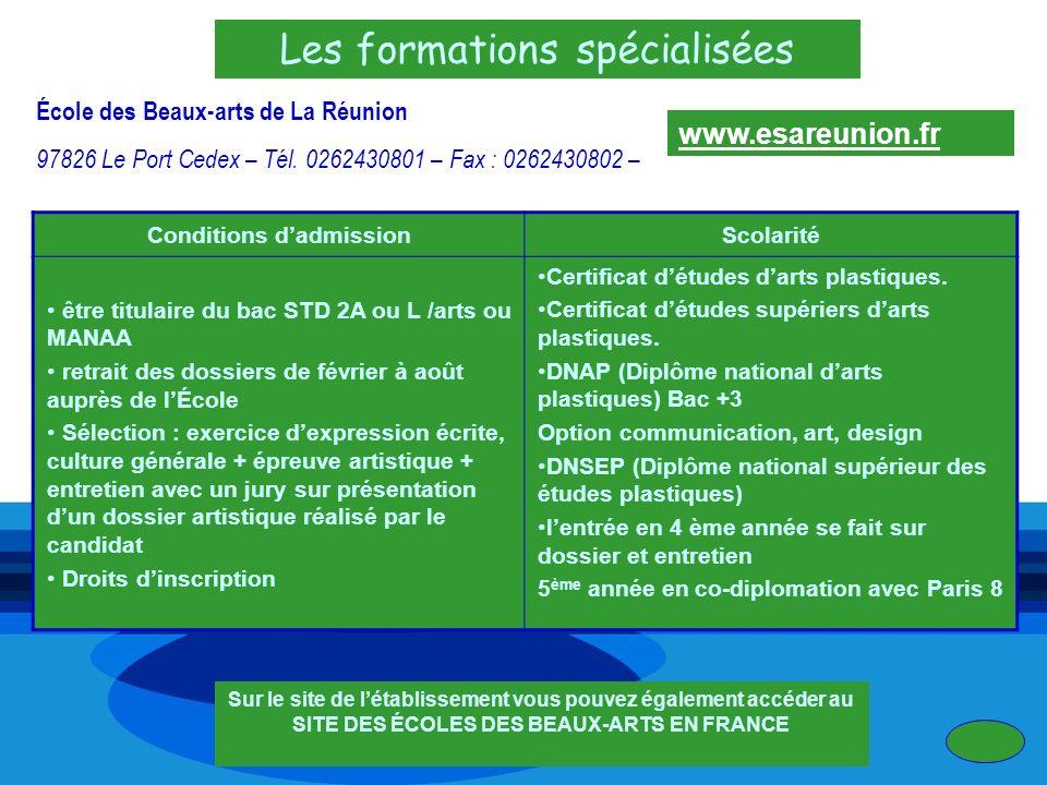 Les formations spécialisées École des Beaux-arts de La Réunion 97826 Le Port Cedex – Tél. 0262430801 – Fax : 0262430802 – Conditions dadmissionScolari