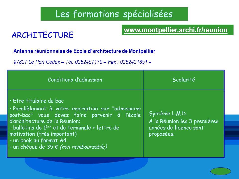 Les formations spécialisées ARCHITECTURE Antenne réunionnaise de École darchitecture de Montpellier 97827 Le Port Cedex – Tél. 0262457170 – Fax : 0262