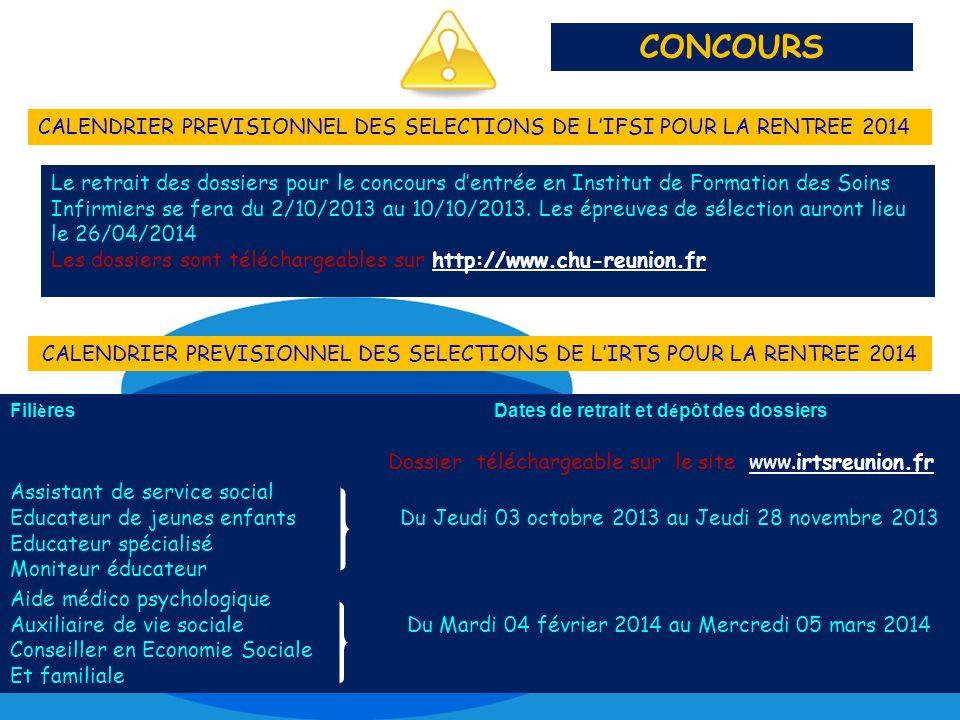 Le retrait des dossiers pour le concours dentrée en Institut de Formation des Soins Infirmiers se fera du 2/10/2013 au 10/10/2013. Les épreuves de sél