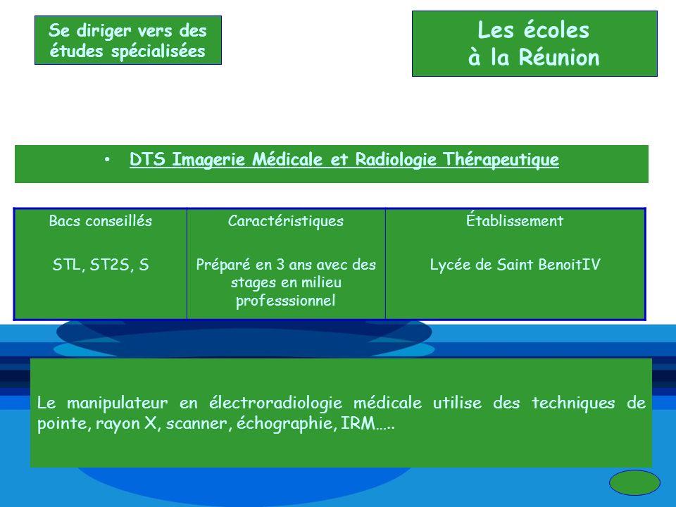 DTS Imagerie Médicale et Radiologie Thérapeutique Bacs conseillés STL, ST2S, S Caractéristiques Préparé en 3 ans avec des stages en milieu professsion