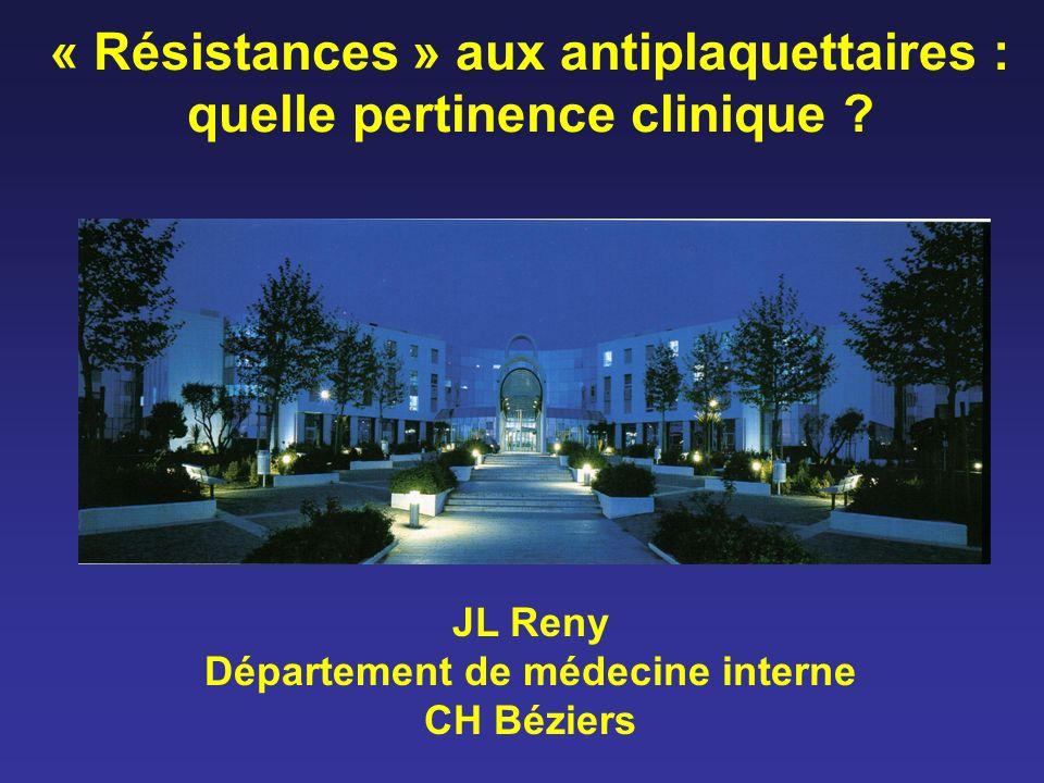 « Résistances » à laspirine Résistance vraie : pas d inhibition de la COX-1 –TxA2, agreg AA, Verify Now (RPFA) TM .