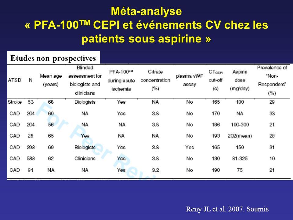 Reny JL et al. 2007. Soumis Méta-analyse « PFA-100 TM CEPI et événements CV chez les patients sous aspirine » Etudes non-prospectives