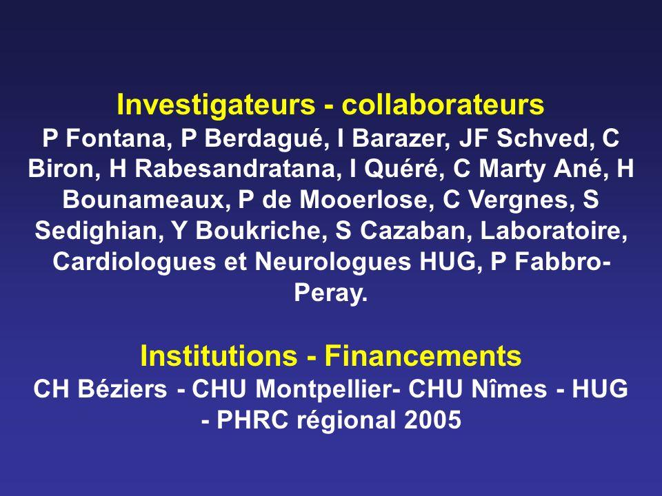 Investigateurs - collaborateurs P Fontana, P Berdagué, I Barazer, JF Schved, C Biron, H Rabesandratana, I Quéré, C Marty Ané, H Bounameaux, P de Mooer