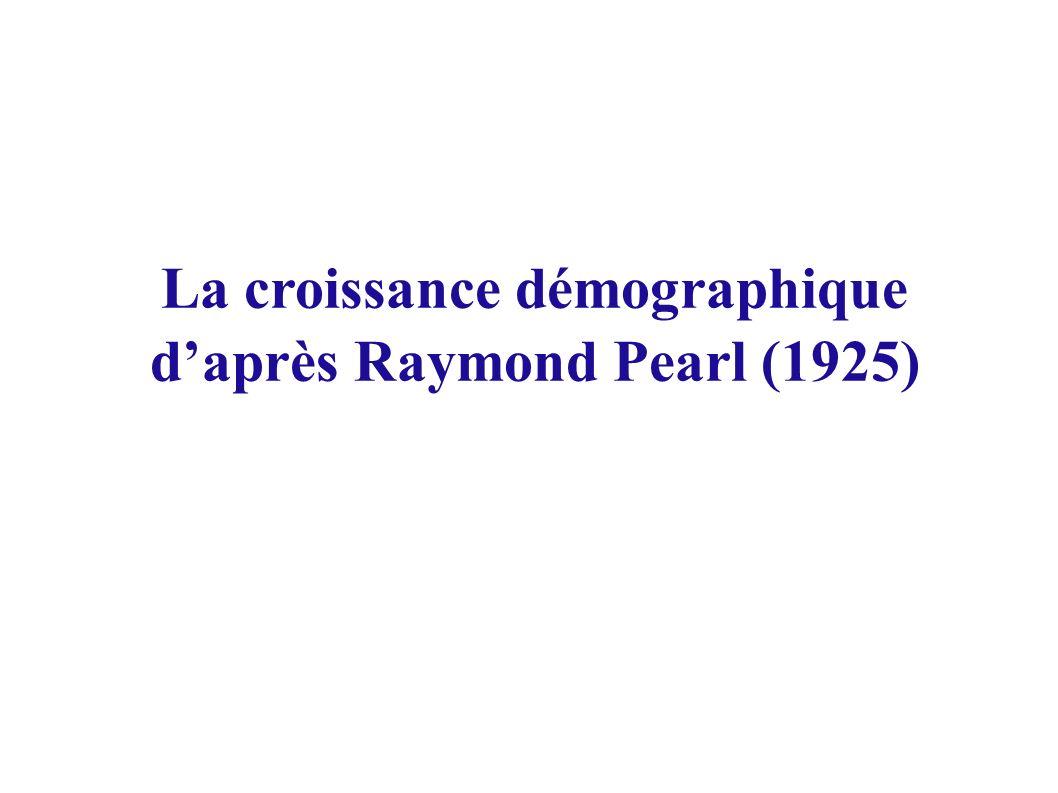 La croissance démographique daprès Raymond Pearl (1925)
