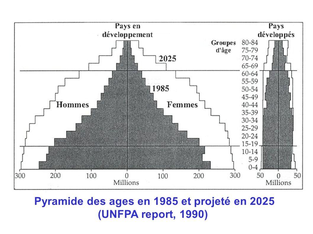 Pyramide des ages en 1985 et projeté en 2025 (UNFPA report, 1990)