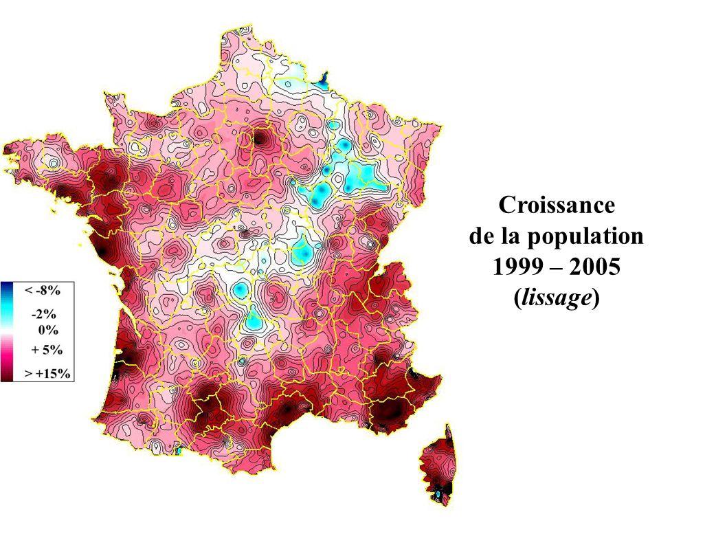 Croissance de la population 1999 – 2005 (lissage)