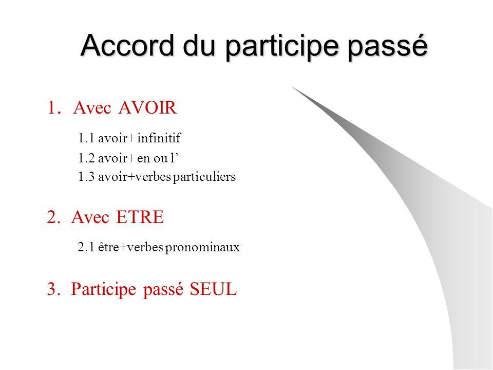 Accord du participe passé 1. Avec AVOIR 1.1 avoir+ infinitif 1.2 avoir+ en ou l 1.3 avoir+verbes particuliers 2. Avec ETRE 2.1 être+verbes pronominaux