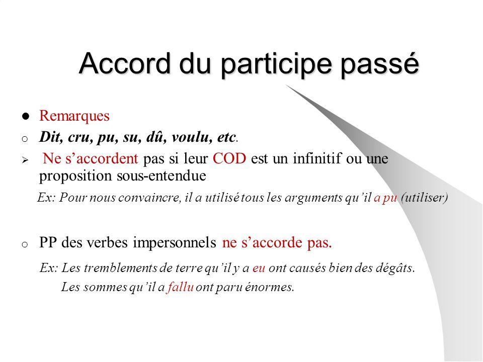 Accord du participe passé Remarques o Dit, cru, pu, su, dû, voulu, etc.