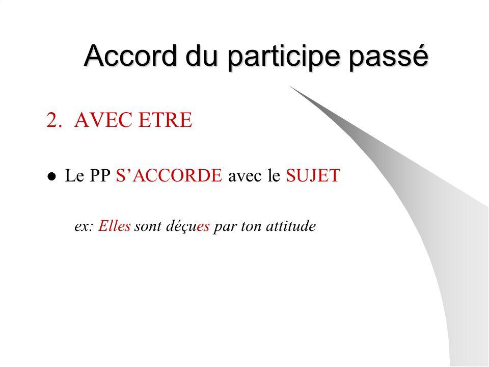 Accord du participe passé Accord du participe passé 2. AVEC ETRE Le PP SACCORDE avec le SUJET ex: Elles sont déçues par ton attitude