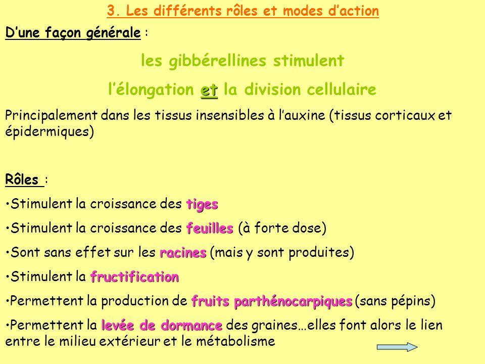 3. Les différents rôles et modes daction Rôles : tigesStimulent la croissance des tiges feuillesStimulent la croissance des feuilles (à forte dose) ra