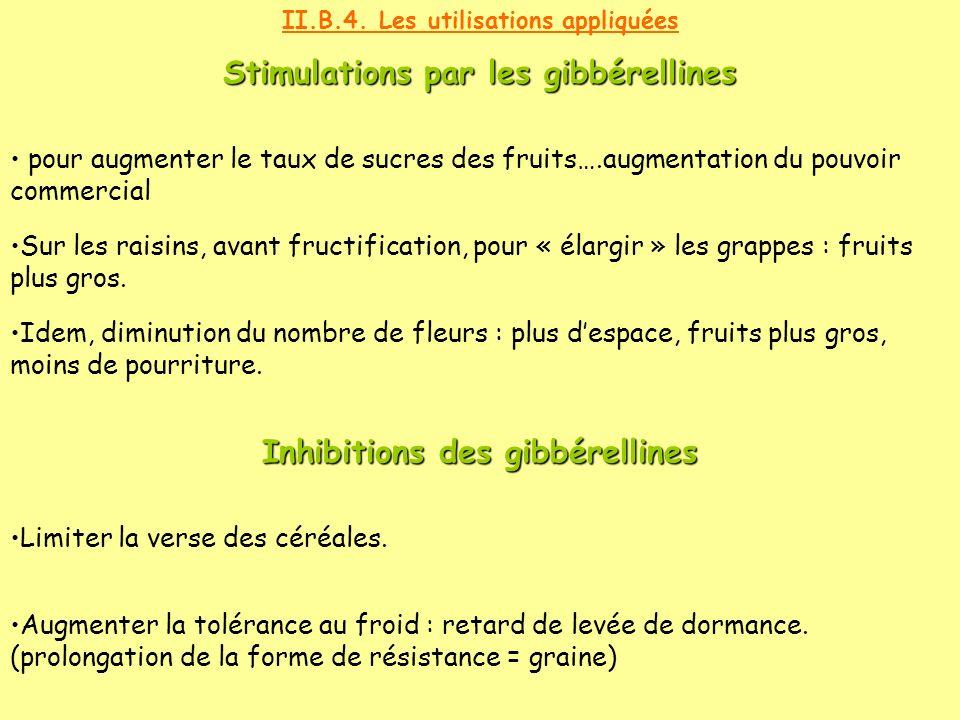 II.B.4. Les utilisations appliquées pour augmenter le taux de sucres des fruits….augmentation du pouvoir commercial Sur les raisins, avant fructificat