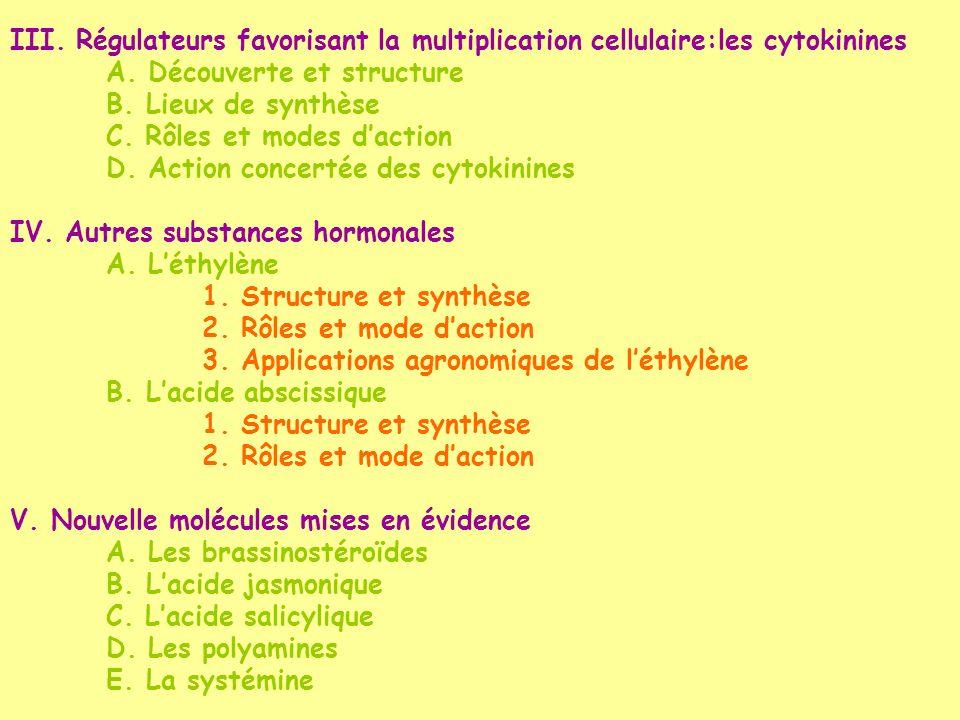 III. Régulateurs favorisant la multiplication cellulaire:les cytokinines A. Découverte et structure B. Lieux de synthèse C. Rôles et modes daction D.