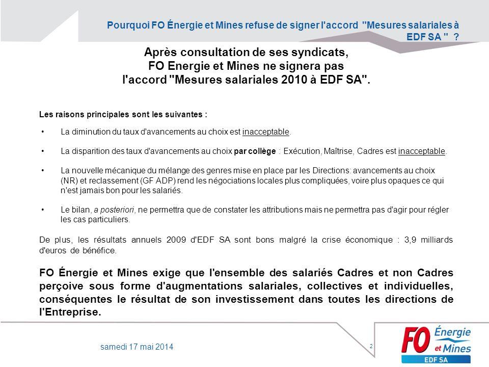 Pourquoi FO Énergie et Mines refuse de signer l'accord
