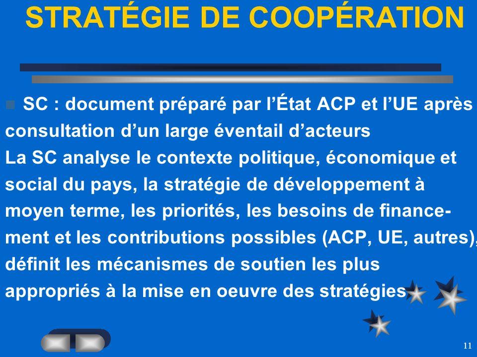 11 STRATÉGIE DE COOPÉRATION SC : document préparé par lÉtat ACP et lUE après consultation dun large éventail dacteurs La SC analyse le contexte politi